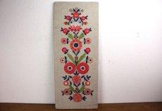画像1: 北欧刺繍 タペストリー/パネル フラワー (1)