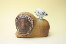 画像1: LISA LARSON Lion with bird/リサ・ラーソン ライオンと鳥 (1)