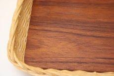 画像3: 北欧アンティーク 籐の縁チークトレイ  (3)