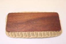 画像7: 北欧アンティーク 籐の縁チークトレイ  (7)