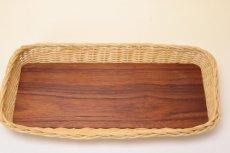 画像2: 北欧アンティーク 籐の縁チークトレイ  (2)