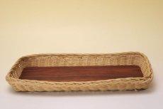画像5: 北欧アンティーク 籐の縁チークトレイ  (5)