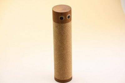 画像1: 北欧チーク/コルク円筒の入れ物 目玉くん