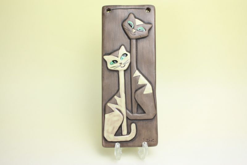 画像1: Christina Sweden Keramik Dagny Zachrisson/Katt ネコの陶板 (1)