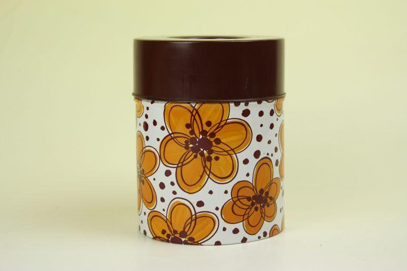 画像1: 北欧雑貨ヴィンテージ/ブリキ缶 花柄 (1)