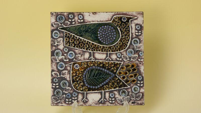 画像1: LISA LARSON UNIK Faglar/リサ・ラーソン 二羽の鳥  陶板 (1)
