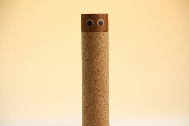 画像1: 北欧チーク/コルク円筒の入れ物 目玉くん (1)