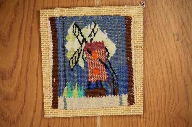 画像1: 北欧織物 フレミッシュ織/風車(37)  (1)